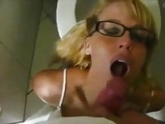 Hot milf involving glasses suck dick and get pissed on face